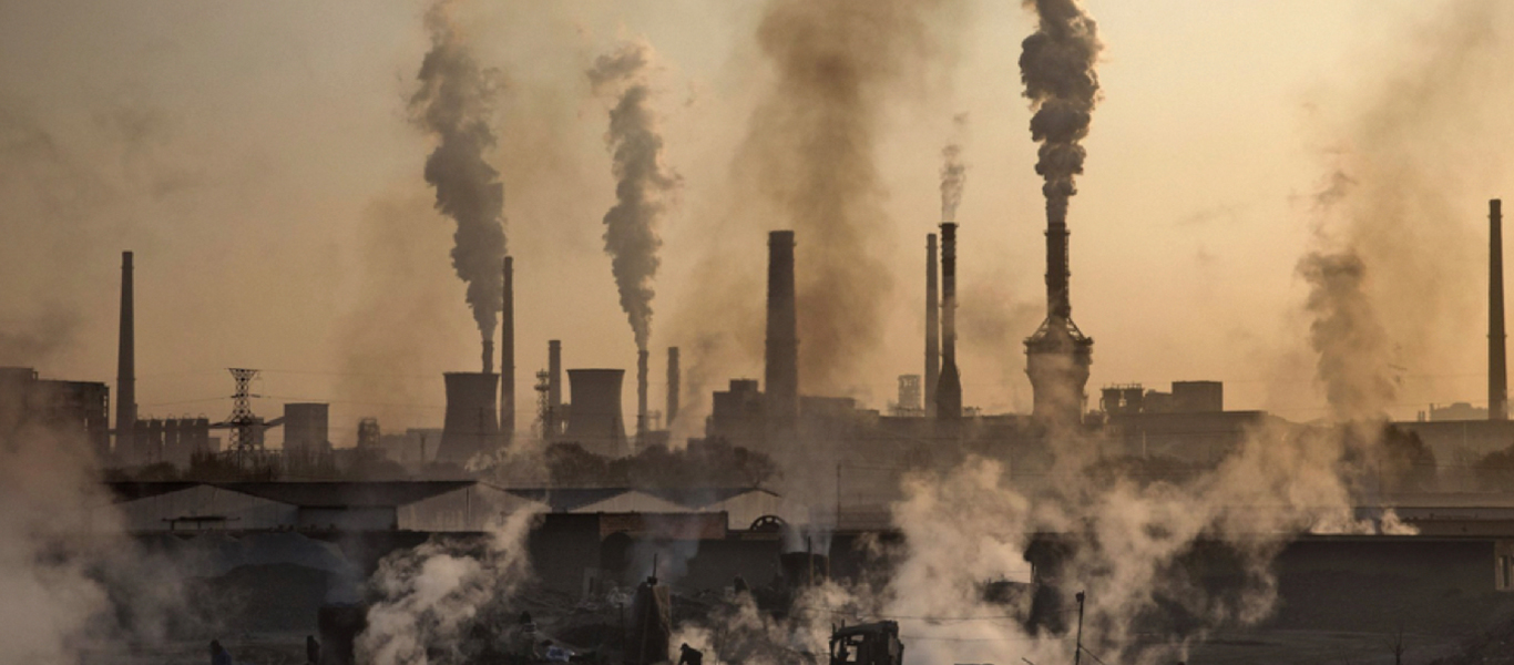Industrial skyline with air pollution