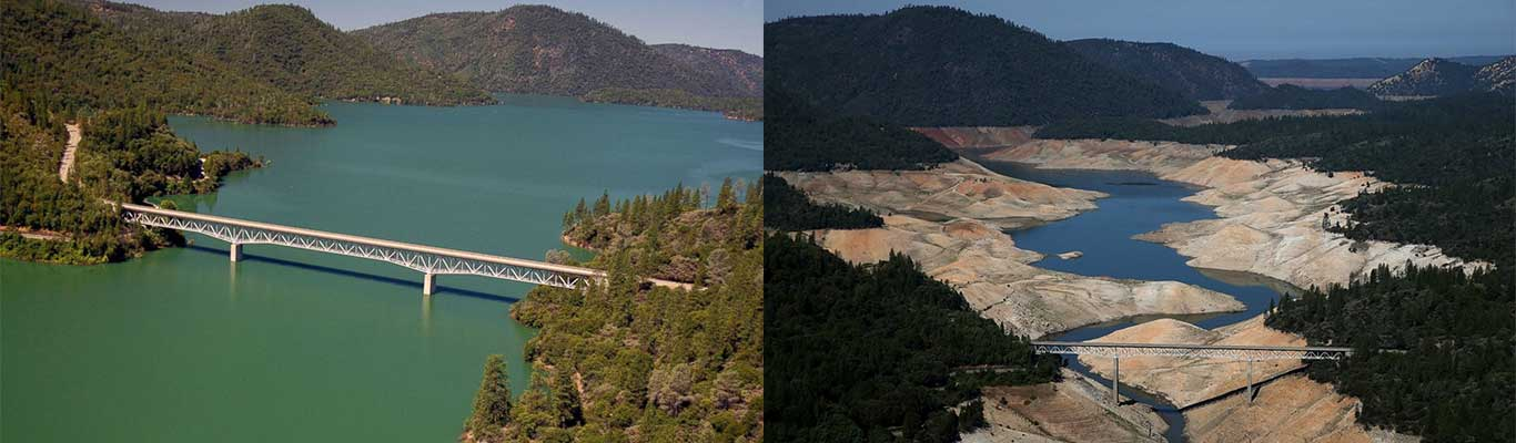 California reservoir late summer 2011 and 2014
