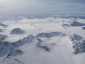 Svalbard from the air, by Irene Quaile.